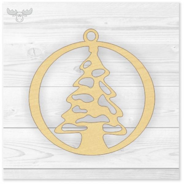 Baumanhänger aus Holz mit Weihnachtsbaum