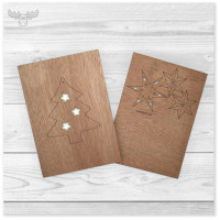 Holz-Postkarten zu Weihnachten mit Baumanhänger