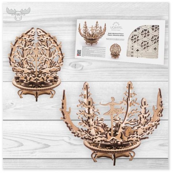 3D Holzpuzzle mechanisch | Mechanische Blume Holzpuzzle