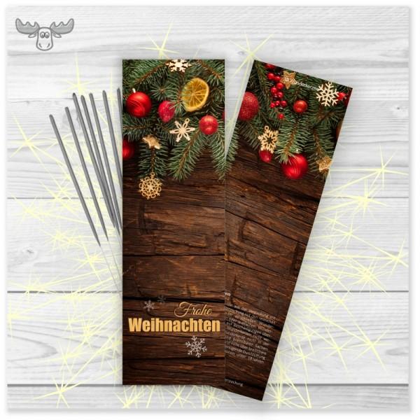 Wunderkerzen in Kartonstecktasche Holzdeko Frohe Weihnachten