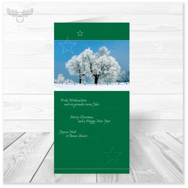 Weihnachtskarte für Firmen - Winterlandschaft (grün) kaufen