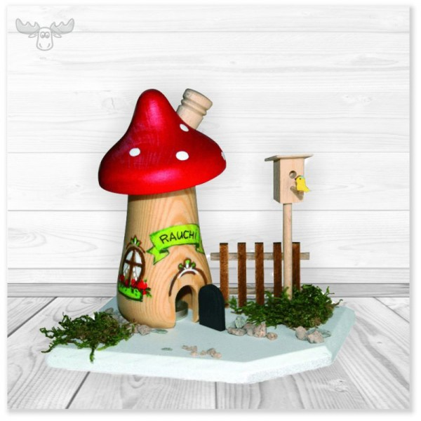 Pilz-Räucherhaus Bastelset aus echtem Holz