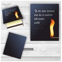 Streichholzbriefchen - Werbeartikel für Firmen Motiv Feuer und Flamme für Marketingzwecke