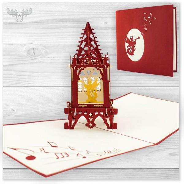 Dreidimensionale Weihnachtskarten | 3D-Engel in Kapelle