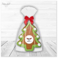 Lebkuchen-Werbegeschenk: Weihnachtsbaum-Figur aus Lebkuchen mit xmaskom-Logo