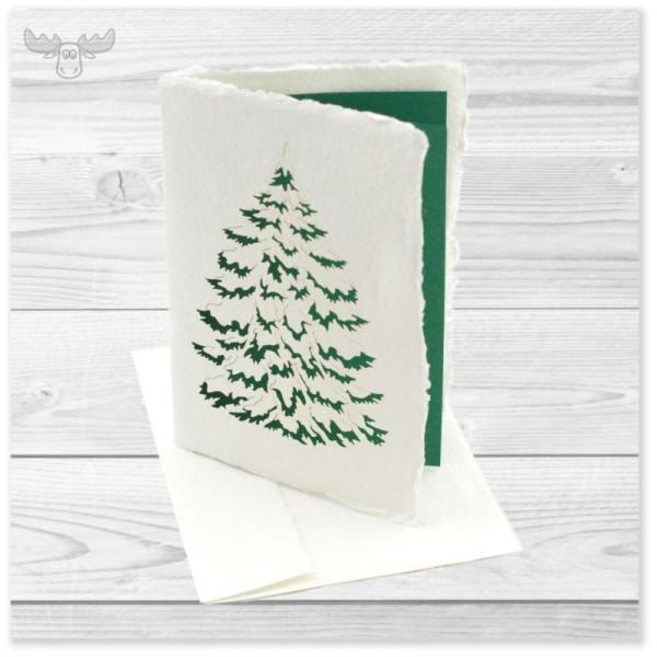 Büttenkarte mit Motiv Tanne für die hochwertige Weihnachtspost