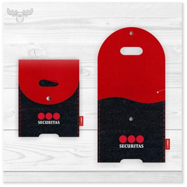 Große Filz-Ladestation mit Firmenlogo im Kundendesign schwarz/rot