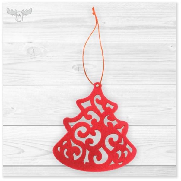 Weihnachtsbaum-Anhänger Filz   Filzanhänger-Motiv: Rote Tanne