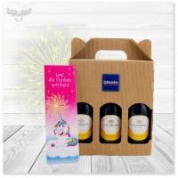 Mini Prosecco Flaschen Set | 3x 200ml Bottles + Wunderkerzen Einhorn