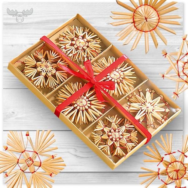 24er-Set Traditionelle Strohsterne für den Christbaum in einer formschönen Verpackung