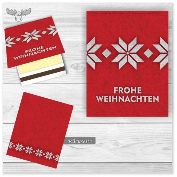Weihnachtliche Giveaways | Streichholzbriefchen Frohe Weihnachten in Rot