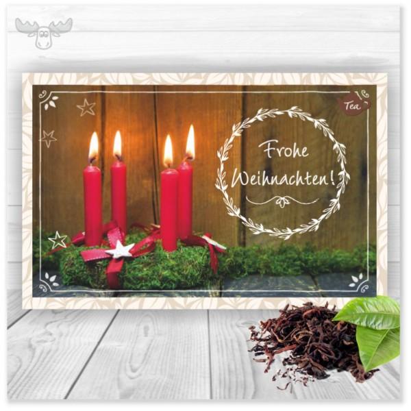 Tee-Weihnachtskarte mit Adventskranz für Ihr Weihnachtsmailing