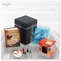 Räucherhaus Geschenkset mit Mini-Buch, Tee, Räucherhaus und Räucherkerzen in edler Dose