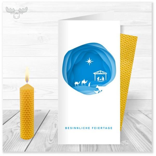 Weihnachtskarte mit Kerze: Krippe - für Ihre christliche Weihnachtspost