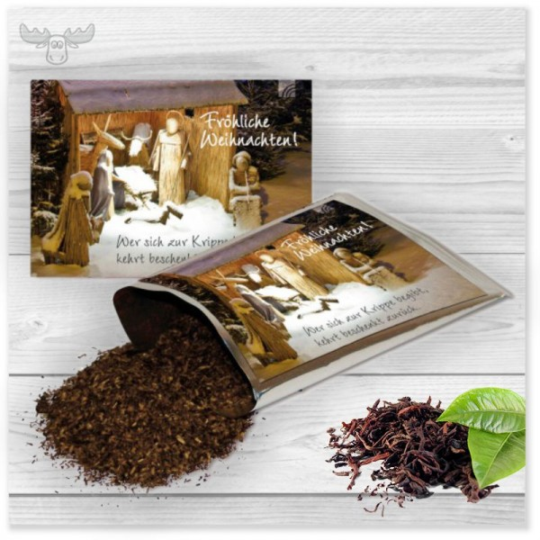 Tee-Postkarte mit Krippenmotiv für besinnliche Weihnachtsgrüße