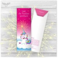 Wunderkerzen in Kartonstecktasche Einhorn-Party in Pink