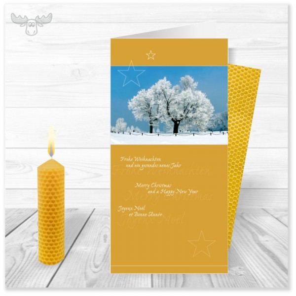 Weihnachtskarte Winterlandschaft in Gelb mit Bienenwachskerze zum Selberdrehen