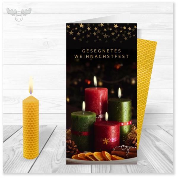 Bienenwachskerzen mit Weihnachtskarte Adventskranz für Ihr Weihnachtsmailing