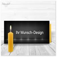 Grußkarte in Ihrem Design mit Bienenwachsplatte zum Kerzendrehen