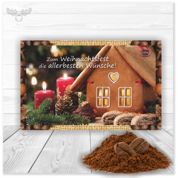 Weihnachtliche Grußkarte Lebkuchenhaus mit Kaffee