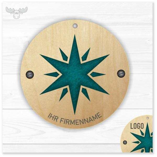 Edle Duftanhänger aus Holz und Filz: Stern