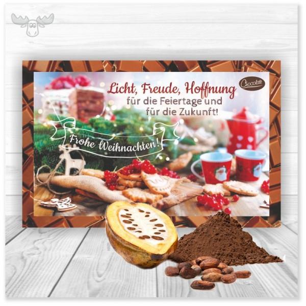 Kakaokarten Licht, Freude, Hoffnung als Weihnachtsmailing an Ihre Kunden