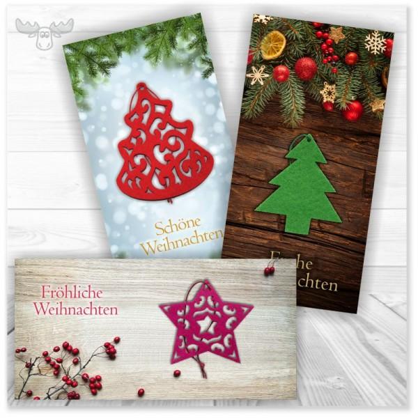 Weihnachtskarte mit Filz-Anhänger | Firmen-Weihnachtspost