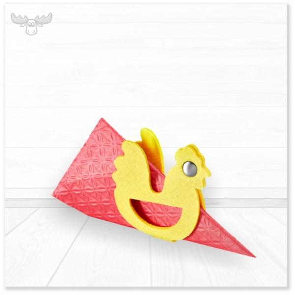 Formschöne Serviettenhalter in verschiedenen Farben mit Motiv Huhn