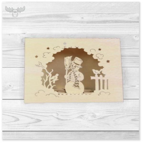 Weihnachtskarten DIN A7 aus Holz | Kunden-Weihnachtspost mit Schneemann