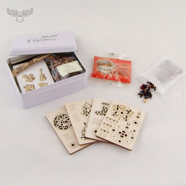 Mini-Holzpuzzle und Tee im Geschenke-Set