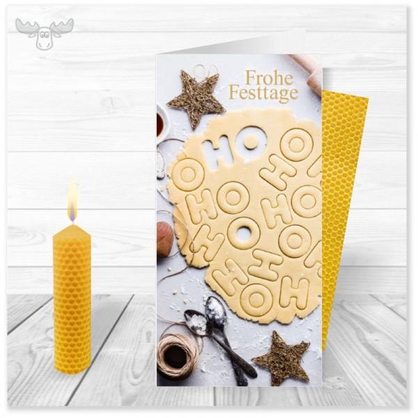 Kerzen zum Selberdrehen mit Weihnachtskarte HoHoHo-Plätzchen