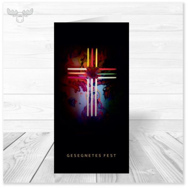 Weihnachtskarte mit Neon-Kreuz für Ihre christliche Weihnachtspost