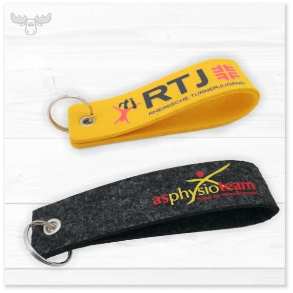 Filz-Schlüsselanhänger als Werbeartikel: Schlaufe einfach 12 cm oder 15 cm