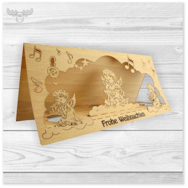 Holz Weihnachtskarten für Kunden - 3D Funktionskarten mit Engelmotiv und 3D-Effekt