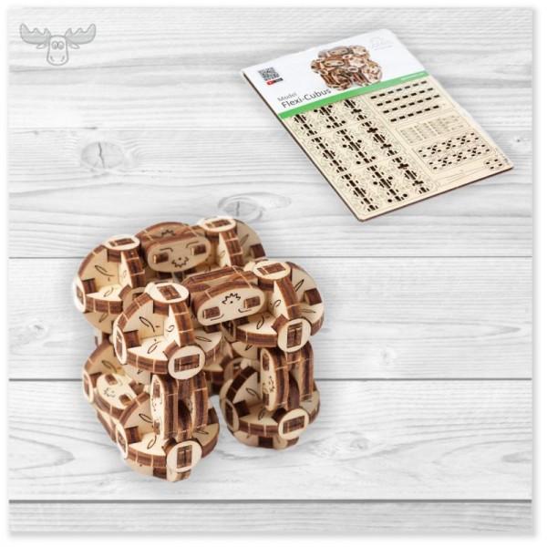 3D Holzpuzzle mechanisch | Flexi-Würfel Holzpuzzle