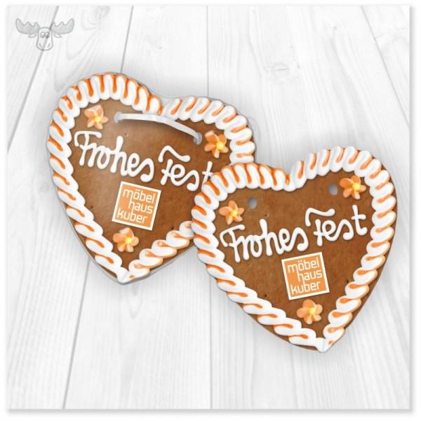 Lebkuchenherz Frohes Fest mit Logo zu Weihnachten
