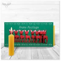 Weihnachtskarte mit Rehlein und Bienenwachskerze zum Selberdrehen