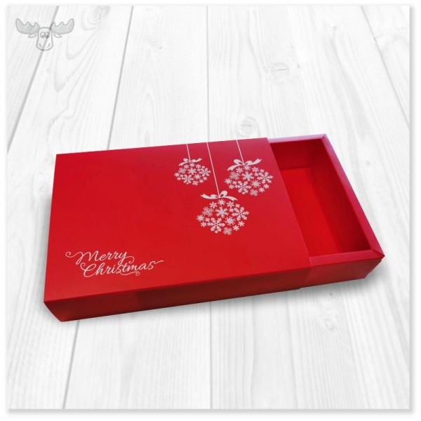 Geschenkeschuber für Ihr Geschenke-Set in weiß mit Baumkugeln aus Schneeflocken