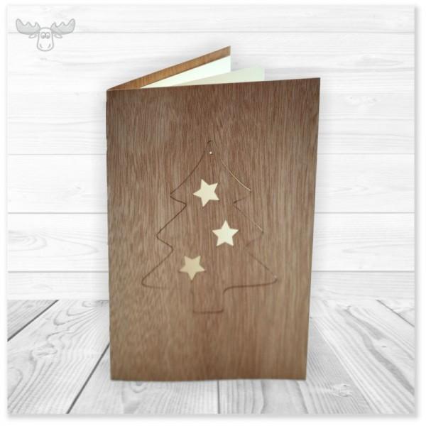 Holzpostkarten zu Weihnachten mit Baumanhänger Tannenbaum zum Heraustrennen mit Briefumschlag