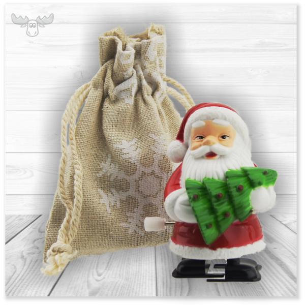 Aufzieh-Weihnachtsmann im Leinensäckchen