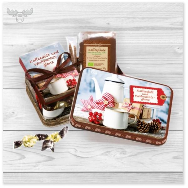 Präsenteset Kaffee mit Mini-Buch Kaffeeduft und Weihnachtsglanz in edler Metalldose