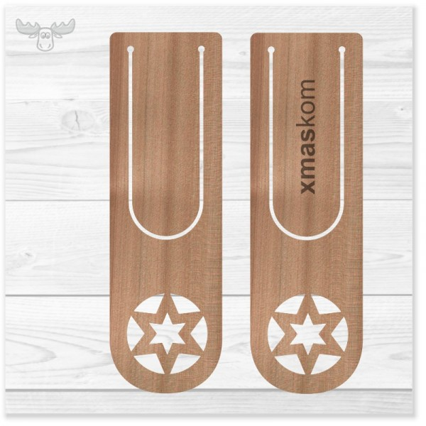 Lesezeichen aus Holz: Stern in Stern | Werbegeschenke-Ideen