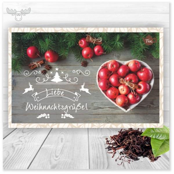 Liebe Weihnachtsgrüße und eine leckere Tasse Tee als Postkarte