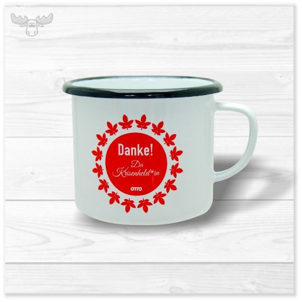 Emaille Kaffeebecher XL-S Weiß, Logo-Druck, Dekor einseitig mit schwarzem Mundrand (Beispielbild)