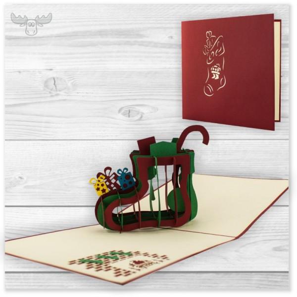 Pop-up Karten Weihnachten (Motiv: Nikolausstiefel) online kaufen
