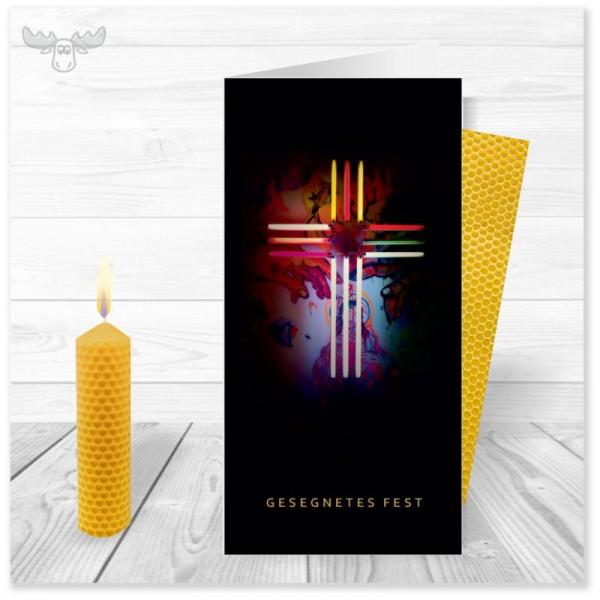 Weihnachtskarte Neon-Kreuz mit Kerze für Ihre Weihnachtspost