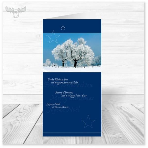 Kunden-Weihnachtskarten Winterlandschaft (blau) kaufen