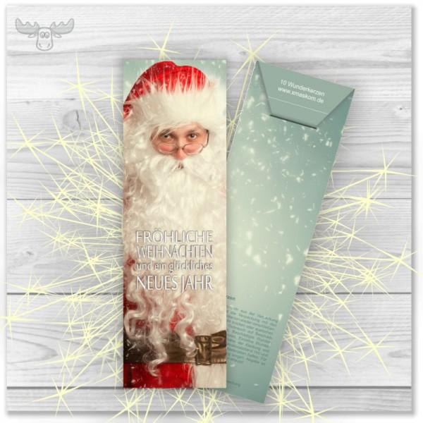 Wunderkerzen in Kartonstecktasche Santa - Fröhliche Weihnachten