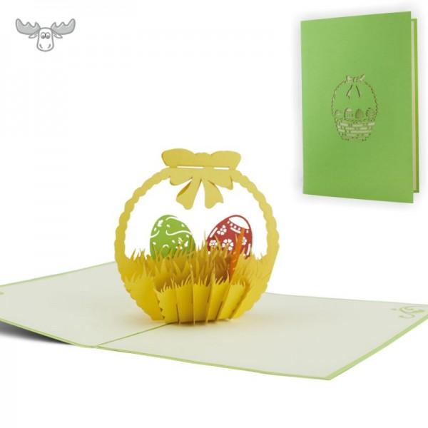 3D-Osterkarte - 3D-Karte mit Motiv zu Ostern: Osterkorb mit Eiern