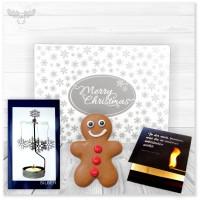 Teelicht Drehlicht-Windspiel mit Lebkuchen in einer Box | Präsent-Set mit Zündholzbrief Feuer & Flamme im Geschenke-Schuber